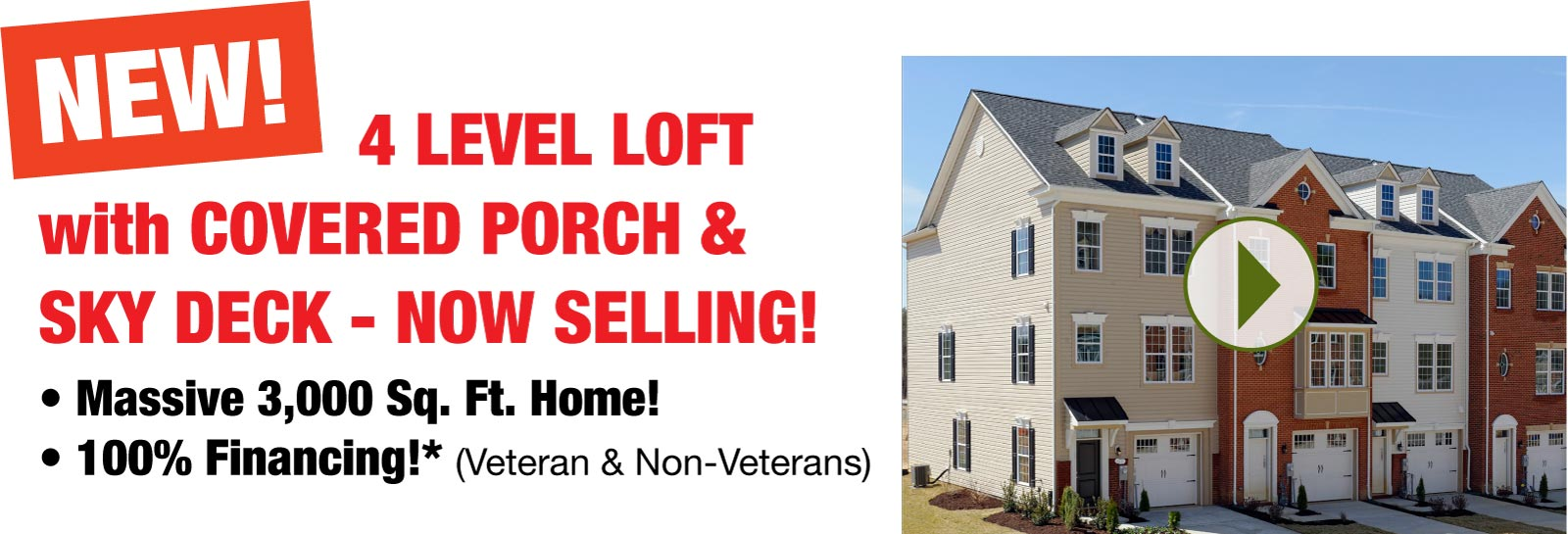 New 4-level loft with covered porch and sky deck - now selling!