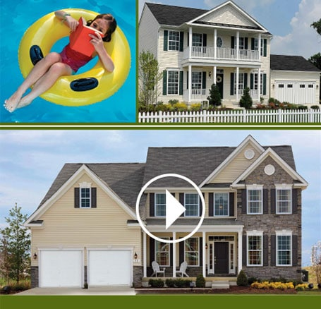 Photos of Timberlake Homes and a young girl reading a book in an inner tube in pool