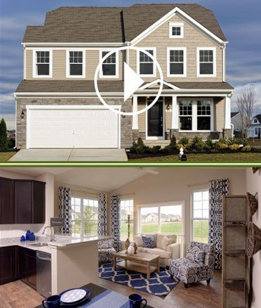 Photo of the front of a single-family home and a photo of a modern kitchen and living area